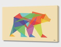 """""""Fractal Geometric bear"""", Numbered Edition Canvas Print by Budi Kwan - From $69.00 - Curioos"""