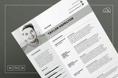 Resume/CV - Taylor by bilmaw creative on @creativemarket Cv Cover Letter, Cover Letter Template, Cv Template, Letter Templates, Resume Templates, Resume Cv, Resume Design, Branding Design, Resume Layout