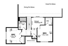 Second Floor Plan of Cape Cod   Coastal   Colonial   Cottage   Country   House Plan 94194