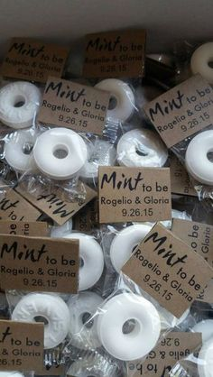 Mint to be wedding favors / http://www.himisspuff.com/cute-fun-wedding-favor-ideas/