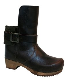 Look at this Wood Collection Antique Brown Wood Lexi Basic Flex Leather Boot on #zulily today!