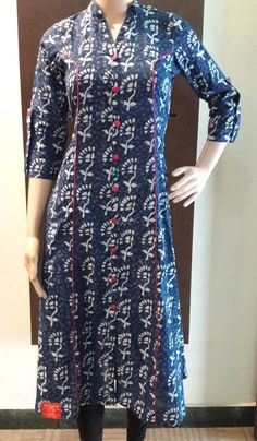 Indigo Block Printed Long kurti with Majenta Piping and Buttons