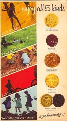 1968 Girl Scout Cookies These were the cookies I sold. At least the Scot-teas, Savannahs, Thin Mints and Sandwich Cremes were the ones I remember. Those Were The Days, The Good Old Days, Vintage Advertisements, Vintage Ads, Retro Advertising, Vintage Food, Vintage Stuff, Great Memories, Childhood Memories