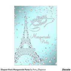 Elegant Paris Masquerade Party 5x7 Paper Invitation Card