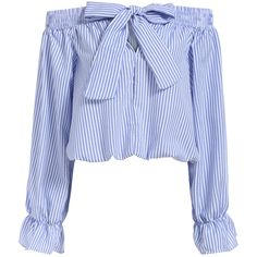 Boat Neck With Bow Vertical Striped Blue Top ($16) ❤ liked on Polyvore featuring tops, blue, striped top, stripe top, blue top, long sleeve tops and blue striped top