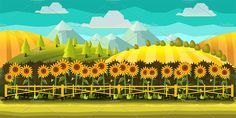 Sunflowers Cartoon Background by VitaliyVill on @creativemarket