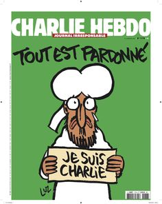"The cover of this week's issue of French satire magazine 'Charlie Hebdo' — the first issue to be published after the Jan attack — will feature a cartoon image of the Prophet Muhammed holding a sign reading, ""Je suis Charlie (I am Charlie). Atheist Humor, Religious Humor, Prophet Muhammad, Charlie Hebdo Mahomet, Satire, Islam, Religion, Paris Attack, Journaling"