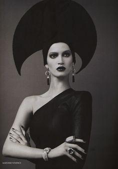 """Russian Pattern"": Marta Berzkaina in Russian Folk Headgear and Jewels by Mariano Vivanco for Elle Russia"