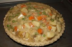 Vegan Pot Pie  We LOVED this! Made it with gluten-free dough and flour and added spinach and garlic. Yum!