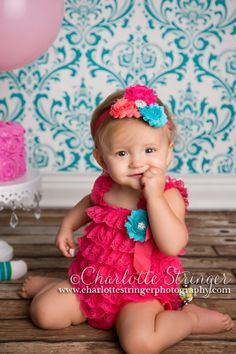 Hot Pink petti lace romper and headband 3 by Pinkpaisleybowtique, $34.99