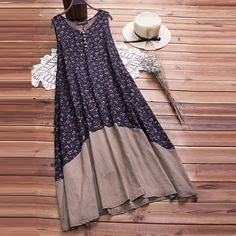 Discount This Month 2019 Boho Floral Printed Dress ZANZEA Summer Women Sleeveless Beach Party Dresses Casual Patchwork Long Tanks Vestido Sarafans Robes Vintage, Vintage Style Dresses, Casual Dresses, Fashion Dresses, Summer Dresses, Party Dresses, Long Floral Dresses, Jeans Fashion, Beach Dresses