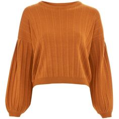Topshop Pleated Blouson Sleeve Jumper (599.950 IDR) ❤ liked on Polyvore featuring tops, sweaters, toffee, topshop tops, jumper tops, embellished sweater, 80s tops and pleated jumper