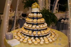 Wedding, Reception, Cake, White, Yellow, Cupcake, Cupcakes on kavanaugh