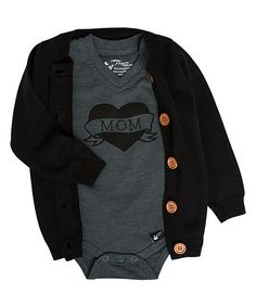 eb4e13610cb7 Littlest Prince Couture Black Button-Up Cardigan   Charcoal  Mom  Tattoo  Bodysuit - Newborn   Infant
