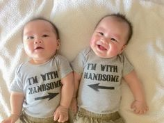 The Cheese Thief: Twin Custom Onesies: How to Screen Print onto Clothes Tutorial  Cute twins shirt!  Lol I'm with handsome!  Would make a cute baby shower gift!