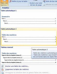 Créer une table des matières Word 2010 et 2007 | COURS.TANAWIATI.NET