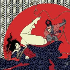 artwork / © ozizo Arisue Go Original Furoshiki OZIZO Collaboration [Monkey] Furoshiki (design by Ozizo) 2016 new furoshiki is released! A bit scary monkey + Ukiyoe-ish kinbaku lady = super cool. Japanese Urban Legends, Le Kraken, Arte Indie, Geisha Art, Dark Art Drawings, Samurai Art, Art Costume, Universe Art, Dark Fantasy Art