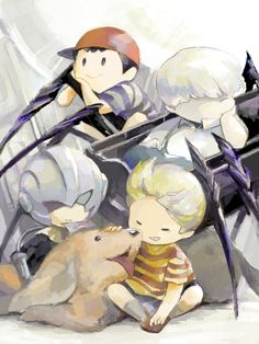 I find this picture cute!!! Lucas,Boney, and masked man from Mother 3. Ness and Pokey from Earthbound