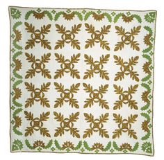 AMERICAN PIECED AND APPLIQUED COTTON CALICO QUILT IN AN OAKLEAF AND REEL PATTERN, MID-NINETEENTH CENTURY.  Sold: 118.00  The early calico printed in a foliate design with green, yellow, brown and red predominent. Composed of sixteen center blocks within a border, 90 x 90 inches.
