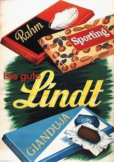 Lindt chocolate bars vintage advertisement, 1938