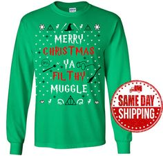 b7fd15093 Harry Potter Shirt - Merry Christmas Ya Filfthy Muggle Ugly Christmas  Sweater T-Shirt - Harry Potter Christmas Gift - Harry Potter Clothing