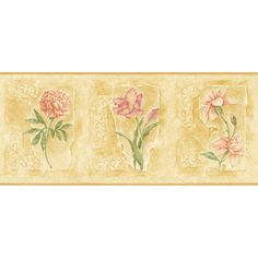 """allen   roth 9-1/4"""" Bright Asian Floral Prepasted Wallpaper Border"""