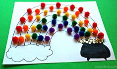 Pom Pom Rainbow Crafts- easy St. Patrick's Day craft idea!