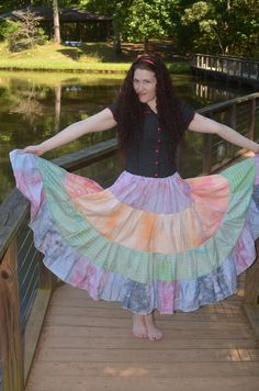 This Gypsy Skirt is 32 inches long and the drawstring waist band makes it flattering on most sizes. So it can worn as a Plus Size Skirt or bustled in at the waist to a small size skirt. This Patchwork Skirt is comfortable enough to wear as a casual Bohemian Skirt and is flowy enough to be worn as a Belly Dance Skirt.   Feel free to contact me if you have any questions about the item or wholesale pricing. I am always happy to hear from you.  All of my items are handmade by me in my home…