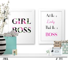 New to StyleCelery on Etsy: GIRL BOSS   Boss Lady   Think Like a Lady Act Like A Boss   Art Print   Printable Home Decor   Typography   Wall Art   Fashion Print   Quote (3.50 GBP)