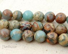 African opal impression jasper beads10mm round  16 by PlumBazaar, $15.00