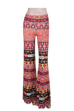 Ethnic Red Printed Flare Pants