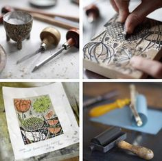 Angie Lewin, lino printing process