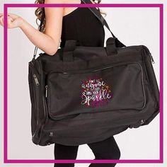 Don't Let Anyone Dull Your Sparkle! Fashion Bling Duffel Bag with Rhinestone Logo