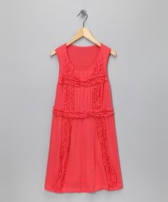 Take a look at this Coral Pleated Ruffle Dress - Girls by A.B.S. by Allen Schwartz on #zulily today!
