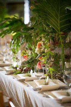 Jungle Wedding Tables. Planning and design by One Fine Day Events. Photography by Catherine Hall Studios.