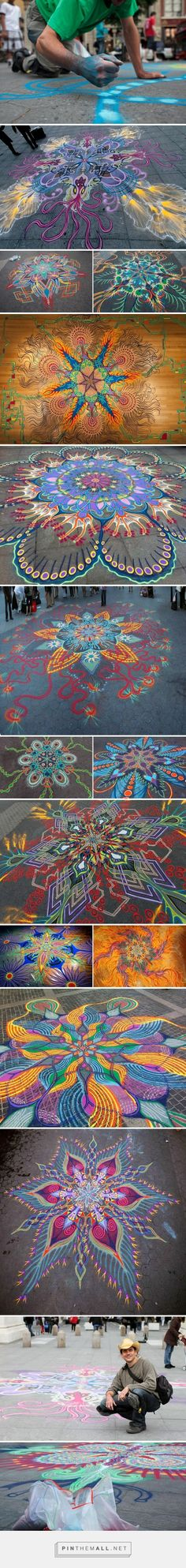 New York-based artist Joe Mangrum has spent the last 8 years drawing beautiful, hypnotic patterns and designs on the streets and squares of New York. Mangrum draws his impressive and expansive works by pouring brightly-colored sand from his hands. The circular geometric forms he uses, as well as his use of colored sand, makes his work resemble traditional Buddhist mandalas, but he also mixed in marine biological elements and other to give his work a unique look.