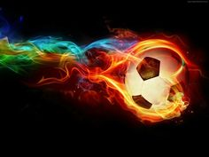 On fire soccer ball