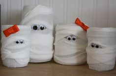 DIY Halloween Mummy Light Decoration. These would be FANTASTIC in a kid's bathroom