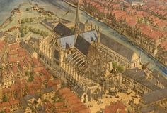 Construction of Notre-Dame in Medieval Paris by Jean-Claude Golvin France City, Ville France, Paris France, Cluny France, Reims France, Architecture Drawings, Historical Architecture, Gothic Architecture, Montpellier