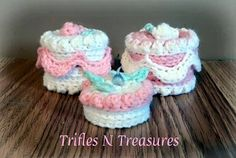 No-Bake Treasure Cakes FREE Crochet Pattern - Trifles & Treasures Crochet Cake, Crochet Food, Crochet Gifts, Crochet For Kids, Free Crochet, Knit Crochet, Crochet Scrubbies, Crocheted Toys, Crochet Kitchen