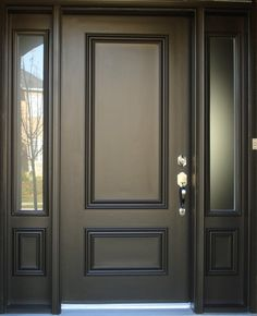 Exterior, Captivating Black 2 Panel Front Door And Sidelites With Stainless Steel Door Knob: Awesome Modern Entry Doors For Home Design Ideas