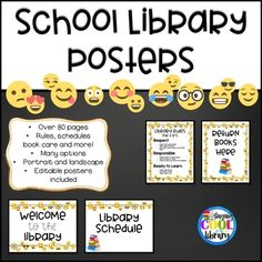 Emoji Library Poster Set (White Background) by Staying Cool in the Library Library Rules, Library Posters, Classroom Posters, Regulatory Signs, Make Your Own Poster, Book Care, Chalkboard Fonts, Rainbow Background, Library Displays