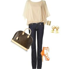 Jeans outfit with orange heels