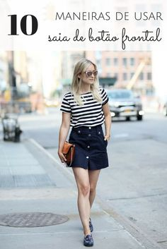 I think you already know that a button front skirt trend was a big style trend. And today this type of skirts is fashionable too! We have cool outfits to show you. Denim Skirt Outfits, Casual Outfits, Summer Outfits, Fashion Outfits, Denim Skirts, Work Outfits, Style Fashion, Button Front Skirt, Culottes