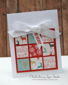 """Fun holiday card featuring A Muse Studio 6"""" x 6"""" patterned papers.  Card design by a