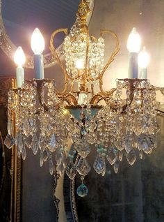 Antique French Brass Chandelier, Vintage Sea Mist Empire Chandelier, Crystal Chandelier, Blue Chandelier, Vintage Lighting, Home Decor by sheriscrystals on Etsy