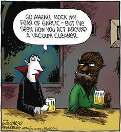Halloween humor: Vampires and Werewolves 😂 Halloween Humor, Halloween Cartoons, Theme Halloween, Halloween Quotes, Happy Halloween, Halloween Stuff, Halloween Ideas, Spooky Memes, Halloween 2016