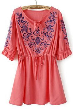 Floral Embroidered Drawstring Blouse
