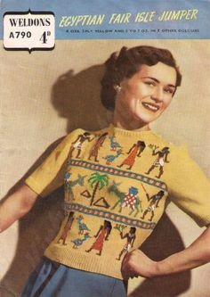 Egyptian Fair Isle Jumper 36 38 A790 W24 by Gaywoollieknits revival 40s 50s sweater knit yellow novelty print pattern color photo print ad