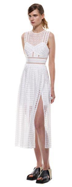 pleated check midi dress